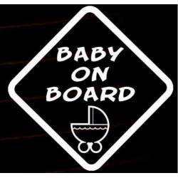 Nálepka na auto na palube BABY ON BOARD kočiarik