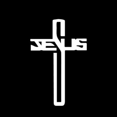 Kresťansto Nálepka na auto Kríž s textom: Jesus