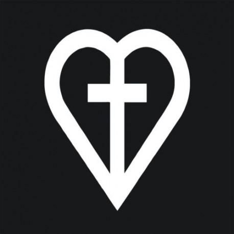 Kresťansto Nálepka na auto Srde s Krížom v strede