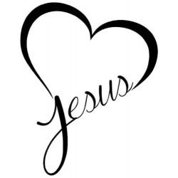 Kresťansto Nálepka na auto Srdce s textom : Jesus