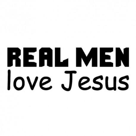 Nálepka na auto Naozajstný hlap miluje Ježiša s textom : REAL MEN love Jesus