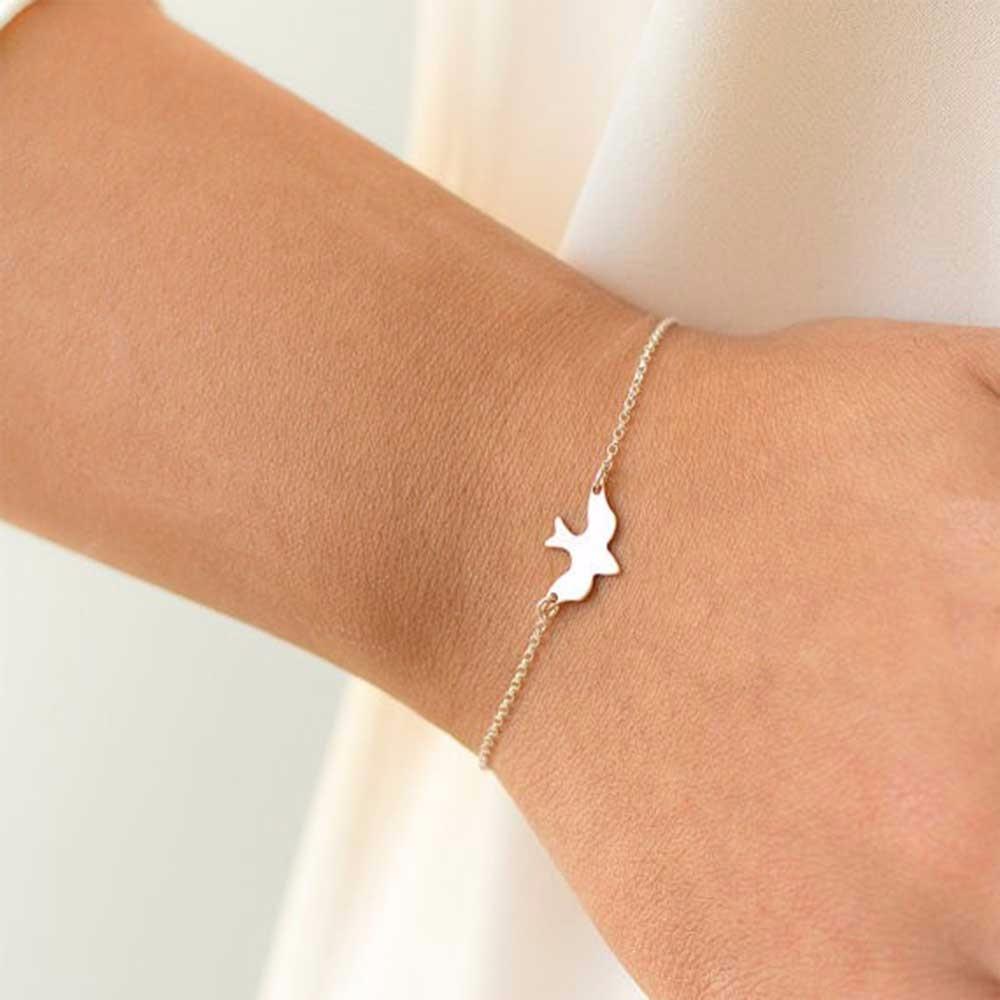 Kresťanský náramok na ruku - retiazka holub